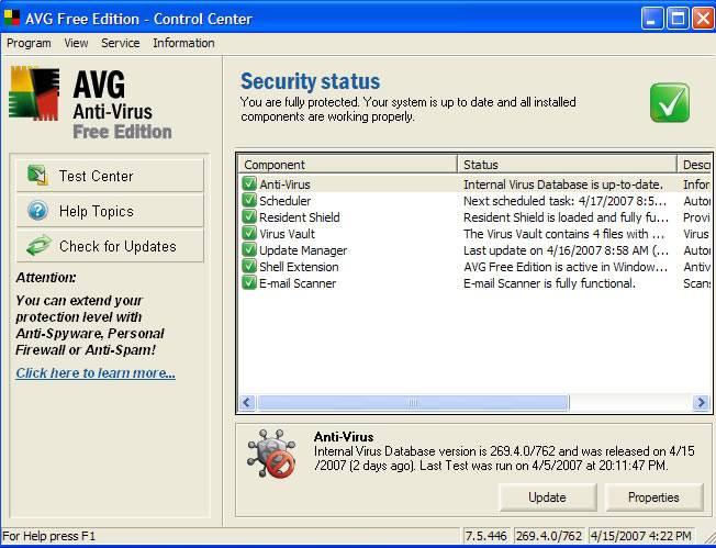L'aggiornamento dell'antivirus AVG blocca Windows 7