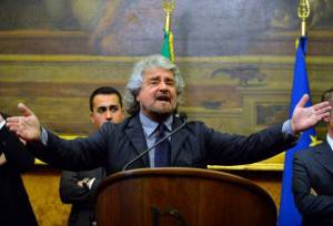 Beppe Grillo a Montecitorio (ANDREAS SOLARO/AFP/Getty Images)