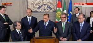 Silvio Berlusconi al termine delle consultazioni al Qurinale (Screenshot SkyTg24)
