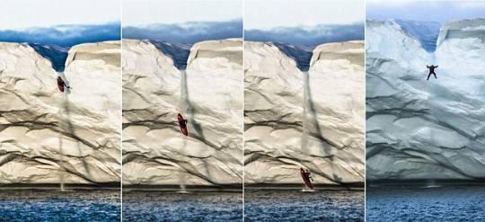 Si getta da un ghiacciaio con un kayak