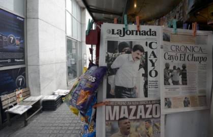 Cattura di Joaquim Guzman in prima pagina della stampa messicana (Getty images)
