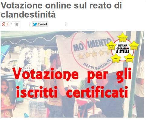 Reato di clandestinità: Grillo avvia votazioni online