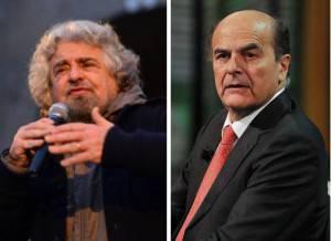 Beppe Grillo e Pier Luigi Bersani (Getty Images)