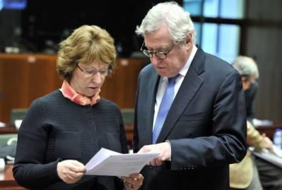 Alto rappresentante politica estera Catherine Ashton  e il Segretario generale delgli Affari esteri Pierre Vimont (Getty images)