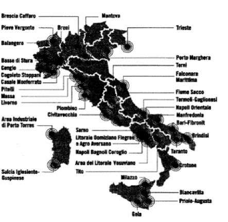 Ministero della Salute: ecco i 44 siti più inquinati d'Italia. Rischio tumori per 6 milioni di Italiani.. LEGGI