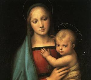 madonna granduca raffaello particolare 300x264 La Madonna del Granduca di Raffaello: scoperta di un paesaggio nello sfondo