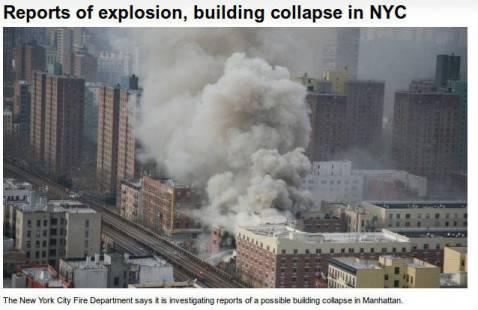 Esplosione edificio a Manatthan (screen shot cvtnews)