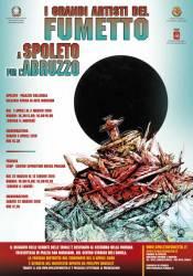 """Manifesto de """"I grandi artisti mondiali del fumetto a Spoleto per l'Abruzzo"""""""