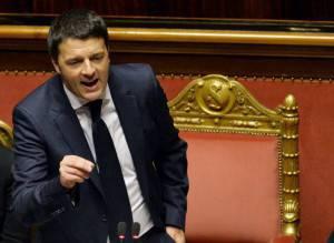 Matteo Renzi al Senato (ANDREAS SOLARO/AFP/Getty Images)