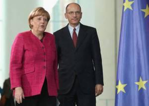 Angela Merkel ed Enrico Letta (Sean Gallup/Getty Images)