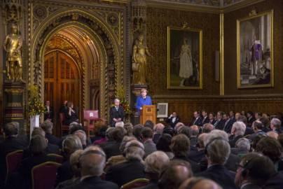 Cancelliera tedesca Angela Merkel alla Royal Gallery del Palazzo di  Westminster davanti alle Camere del Parlamento britannico (Getty images)