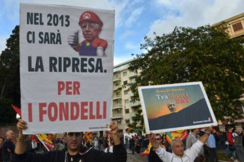 """No Monti Day"", 27 ottobre 2012, Roma (ALBERTO PIZZOLI/AFP/Getty Images)"