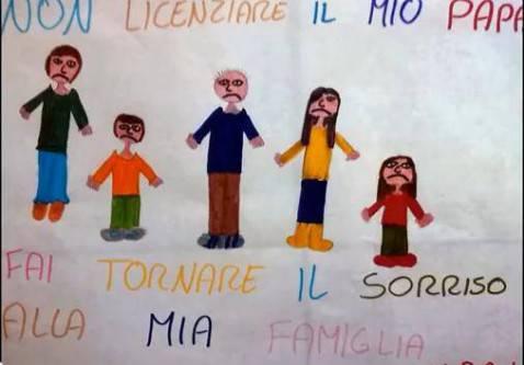 Uno dei disegni dei figli degli operai (screenshot Youtube)