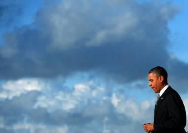 Presidente americano Barack Obama al suo arrivo in Florida (Getty images)