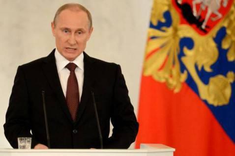 Presidente russo Vladimir Putin nel suo discorso al Parlamento per integrazione della Crimea e della città di Sebastopoli nella Federazione Russa (Getty images)