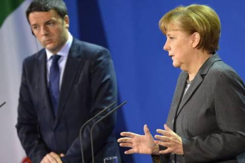 Matteo Renzi e Angela Merkel (ODD ANDERSEN/AFP/Getty Images)