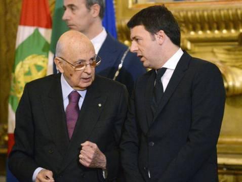 Presidente della Repubblica Giorgio Napolitano e presidente del Consiglio Matteo Renzi (Getty images)