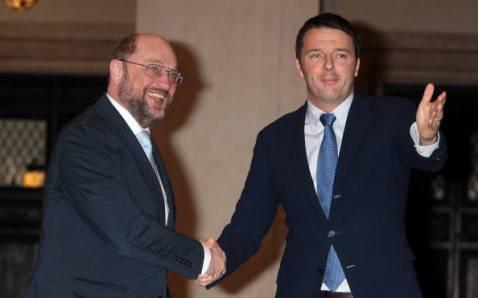 Matteo Renzi con Martin Schulz (Elisabetta Villa/Getty Images)