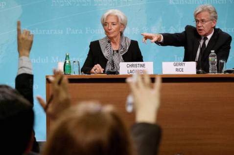 Gerry Rice con Christine Lagarde (Chip Somodevilla/Getty Images)