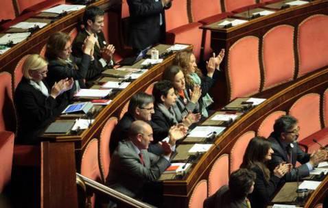 Senatori M5S in aula (Elisabetta Villa/Getty Images)