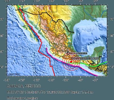 terremoto messico mappa US geological survey 1 Messico: terremoto di 7.6 gradi Richter nello Stato di Guerrero