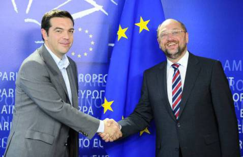 Alexis Tsipras e Martin Schulz (GEORGES GOBET/AFP/GettyImages)