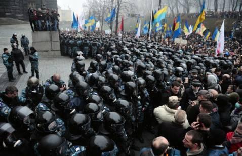 Corteo di protesta davanti al palazzo dei Ministri a Kiev, Ucraina (Getty images)