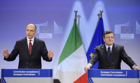 Conferenza stampa Letta-Barroso (JOHN THYS/AFP/Getty Images)
