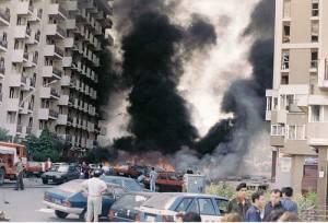 Via D'Amelio dopo l'attentato a Borsellino e alla sua scorta